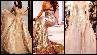 Stunning Spaghetti Straps V-neck Long Gold Sequins Tulle Evening Gown For Women