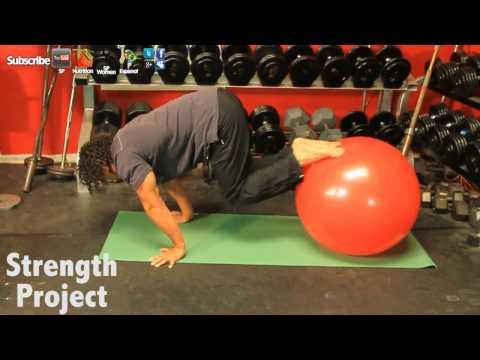 Planche Progression Double Leg Tuck Using Exercise Ball Tutorial