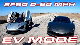 Ferrari SF90 Stradale 0-60 and 1/4 Mile Test in Electric ONLY Mode #shorts by DragTimes