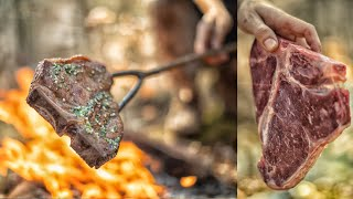 T-BONE STEAK ON A STICK - PRIMITIVE, BUSHCRAFT, EPIC!