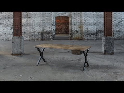 The Classic X Desk   Steel Vintage - The Industrial Furniture Company