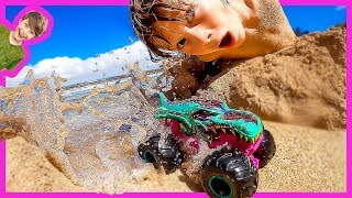 MONSTER TRUCK SWIMMING POOL AT THE BEACH