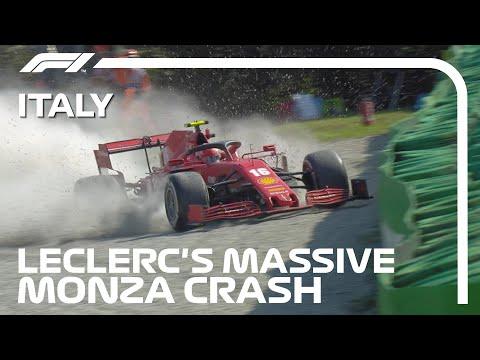 フェラーリのルクレールが激しくクラッシュした様子を収めたクラッシュ動画。母国イタリアGP(モンツァ)。