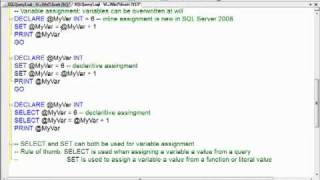 How to Declare and Initialize Variables in T-SQL (Part 2)