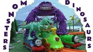 Thomas The Tank Dinosaur Train Set with Sesame Street Cookie Monster Elmo ABC Monsters University