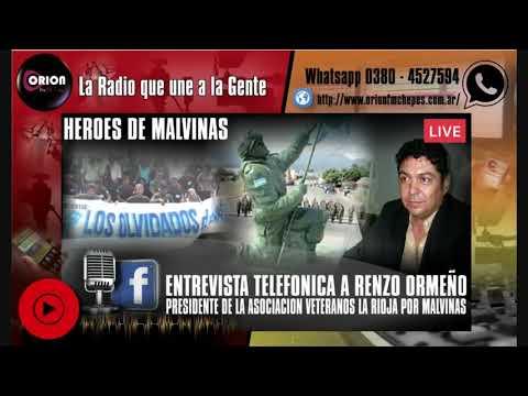 Entrevista telefónica  a Renzo Ormeño Presidente de la Asociación Veteranos La Rioja por Malvinas.