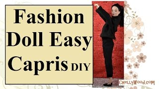 Free Doll Clothes Patterns: Fashion Doll Capri Pants DIY
