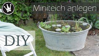 DIY - Miniteich in Zinkwanne   Miniteich anlegen   Zinkwanne dekorieren    Gartendeko DekoideenReich