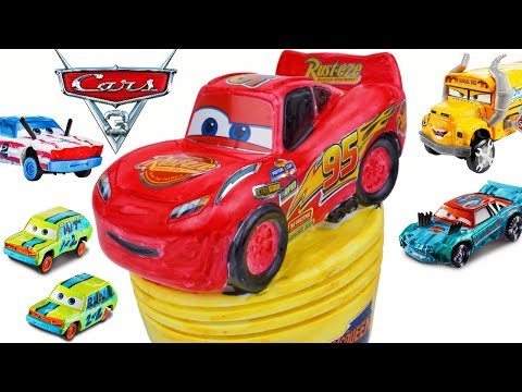 Disney Cars 3 Cool New Diecasts And Coloring A Piston Cup Trophy With Lightning Mcqueen
