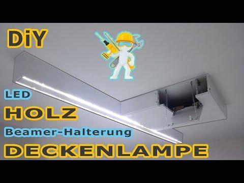 LED Holz Deckenlampe mit integrierter Beamerhalterung - Hängelampe - DIY - NEU -