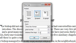 Insert A Drop Cap (large First Letter) In Word