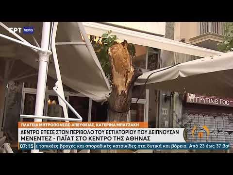 Δέντρο έπεσε στον περίβολο εστιατορίου όπου δειπνούσαν Μενέντεζ– Πάϊατ–Δύο τραυματίες   26/08/21 ΕΡΤ