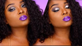 Full Face Makeup tutorial : Cool toned eyes and glossy purple lips ft.  Dsoar Hair !