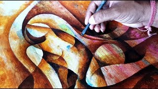 Abstract Painting / Abstract Figurative Painting In Acrylics 04/ Demonstration