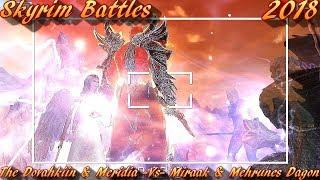 Skyrim Battles - The Dovahkiin And Meridia vs Miraak And Mehrunes Dagon Legendary Settings