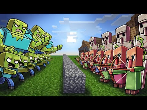 Minecraft   ZOMBIE ARMY VS VILLAGER ARMY! (Massive Mob Battles)