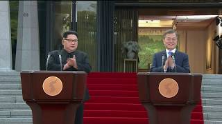 韩国总统文在寅和朝鲜领导人金正恩在板门店签署协议后发表讲话