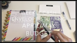 WEEKLY CASH ENVELOPE STUFFING WITH CANADIAN CURRENCY | APRIL/MAY BUDGET | DAVE RAMSEY | JamzPlanz