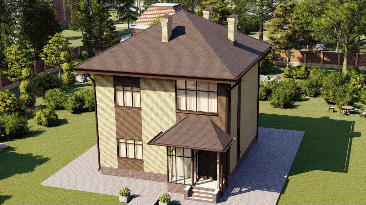Проект дома из пеноблоков 2 этажа с балконом 193 м2