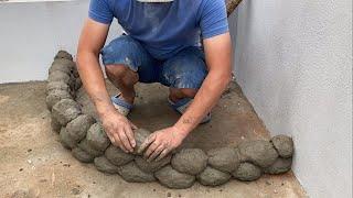 Great Ideas From Cement | Garden Decoration Ideas | Technique Making Aquarium Combine Flower Pots