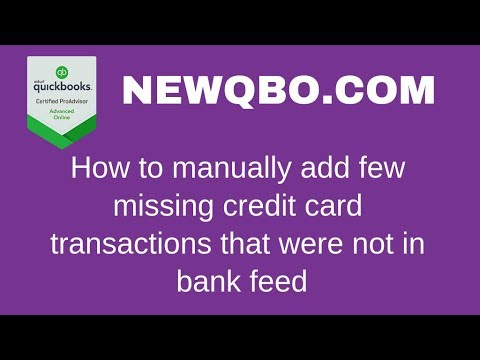 How to manually add few missing credit card transactions that were