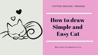 Tattoo Design/Henna: How To Draw A Cat Tattoo