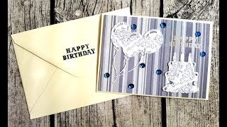 CARD PROCESS VIDEO #29 | easy & quick birthday card | ~my niece is making DIY embellishments~