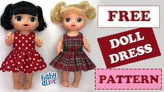 DIY 👗 How To Make A Baby Alive Doll Dress Free Pattern