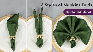 3 Styles Of Napkins Folds Tutorial | How To Fold | EFavormart.com