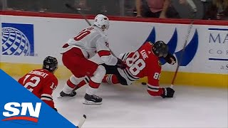 Patrick Kane And Jonathan Toews Go After Sebastian Aho For Hit From Behind At Conclusion Of Game