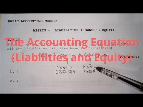 Basic Accounting- The Accounting Equation (Liabilities and Equity)