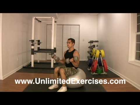 Stability Ball - Dumbbell Bicep Curl