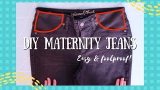 How to Make EASY  Maternity Jeans!  Sewing Hacks, DIY, Crafts