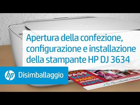 Apertura della confezione, configurazione e installazione della stampante HP DeskJet 3634