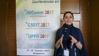 Dr. Moneeba Iftikhar at JMComm Conference 2017 by GSTF Singapore