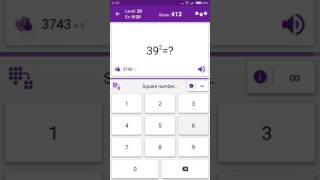 Math Tricks - Training mode - square numbers beween 30 and 39 - level 020 (Number Keyboard)