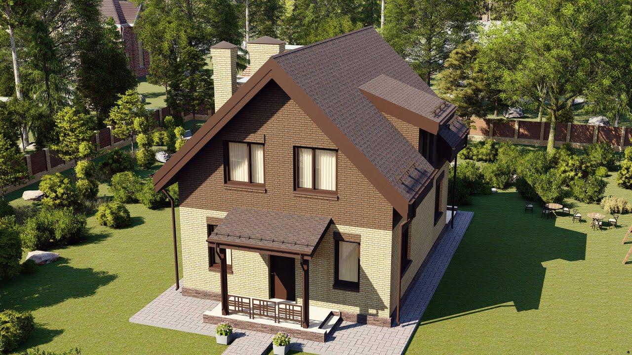 Проект красивого мансардного дома для небольшой семьи общей площадью 127 м2