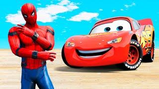 Spiderman & Lightning Mcqueen Mega Ramp Jumps/Stunts in GTA 5!