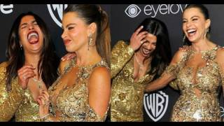 Priyanka Chopra And Sofia Vergara EXCLUSIVE Dance In Lift At GOLDEN GLOBES 2017