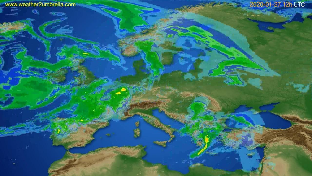 Radar forecast Europe // modelrun: 00h UTC 2020-01-27