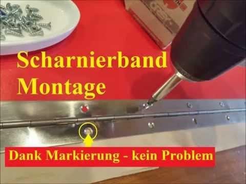Scharnierband anschrauben, Deckel Montage