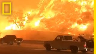Watch Drivers Flee a Fire Engulfing California Freeway | National Geographic thumbnail