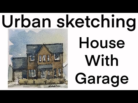 Thumbnail of Urban Sketching - Pen and wash house with garage using a limited palette of watercolour