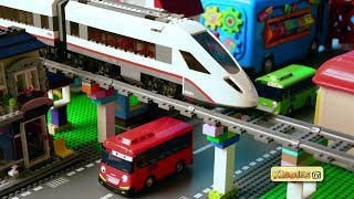 LEGO City High Passenger Train and Tayo Buses | Kindergarten | Wheels on the bus | Kiddiestv