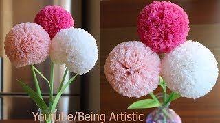 How To Make Round Tissue Paper Flower - DIY Paper Craft