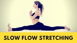 Slow flow stretching. Yoga Class for deep stretch. 12-minute yoga workout for runners