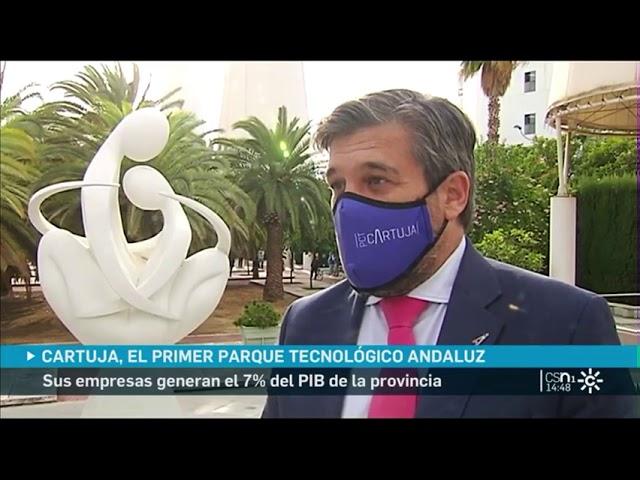 Luis Pérez y Beltrán calvo entrevistados por los informativos de Canal Sur televisión