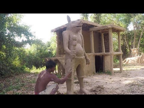 Primitive Technology, build Sculptures human pig with clay