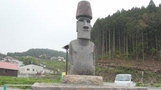 被災地にモアイ像設置南三陸、チリから寄贈
