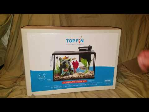 Top fin Essential 5.5 gallon led aquarium fish tank kit unboxing